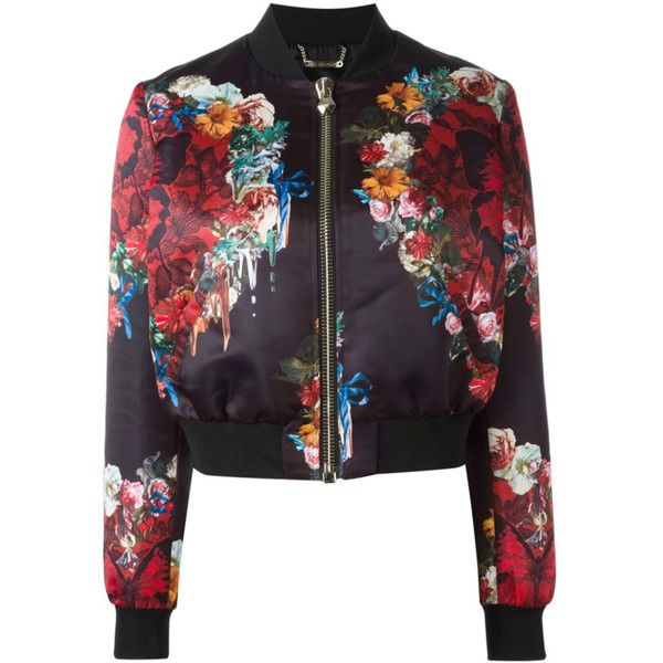 Philipp Plein Damen floral print bomber jacket - reduziert (2 065 AUD) ❤ liked on Polyvore featuring outerwear, jackets, philipp plein jacket, blouson jacket, philipp plein, flower print jacket and flight jacket