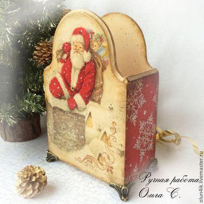 "Короб ""Новогодний"" - бежевый,красный,короб для хранения,короб,короб для кухни"