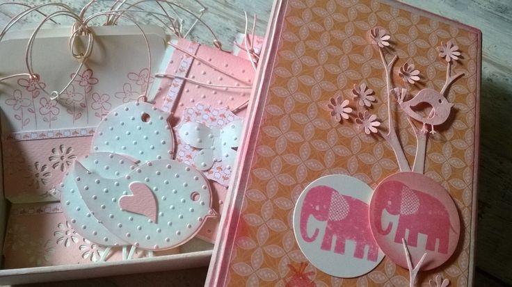 Empaques en caja decorativa para kit de tarjetas para regalos a bebés.