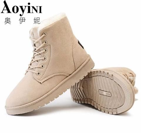 Women Boots Snow 2017 Hot Sale Warm Winter Boots Botas Lace Up Mujer Fur Ankle B…