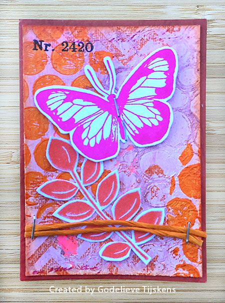 ATC by Godelieve Tijskens using Darkroom Door Carved Leaves Vol 1 and Butterflies Rubber Stamp Sets, Circles, Chevron and Polka Dots Background Stamps.