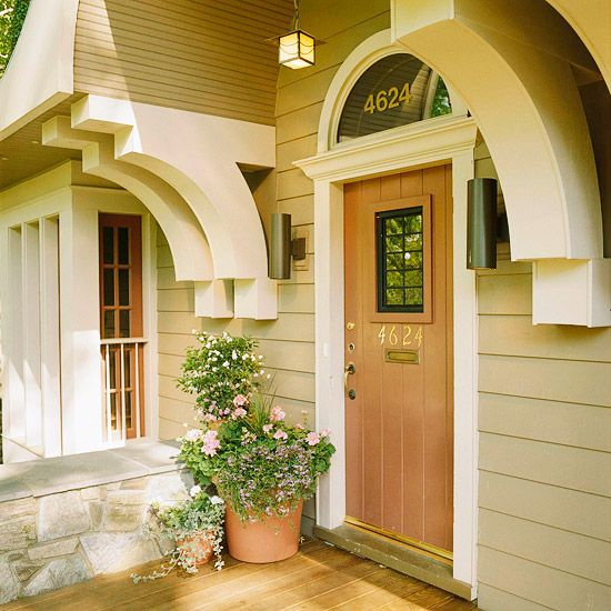 Replace old hardware  House numbers, the entry door lockset, a wall-mounted mailbox, and an overhead light fixture are all elements that can add style and interest to your home's exterior. If they're out of date or dingy, your home may not be conveying the aesthetic you think it is. These elements add the most appeal when they function collectively, rather than as mix-and-match pieces. Oiled-bronze finishes suit traditional homes, while brushed nickel suits more contemporary ones.