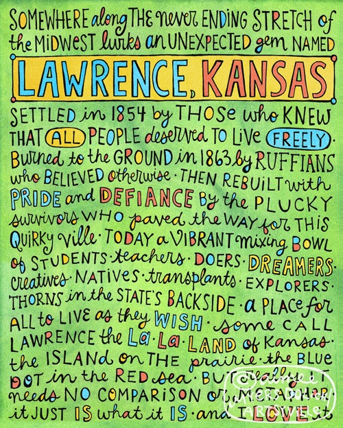 """Illustration and text © Aimee Dolich/Artsyville: """"An ode I wrote to my favorite little town in the world -- Lawrence, Kansas. This doodleprint measures approximately 8""""x10"""" and is printed with archival, water resistant pigment inks on a thick, hearty, durable 100 lb cover weight paper."""" 16.00 USD"""
