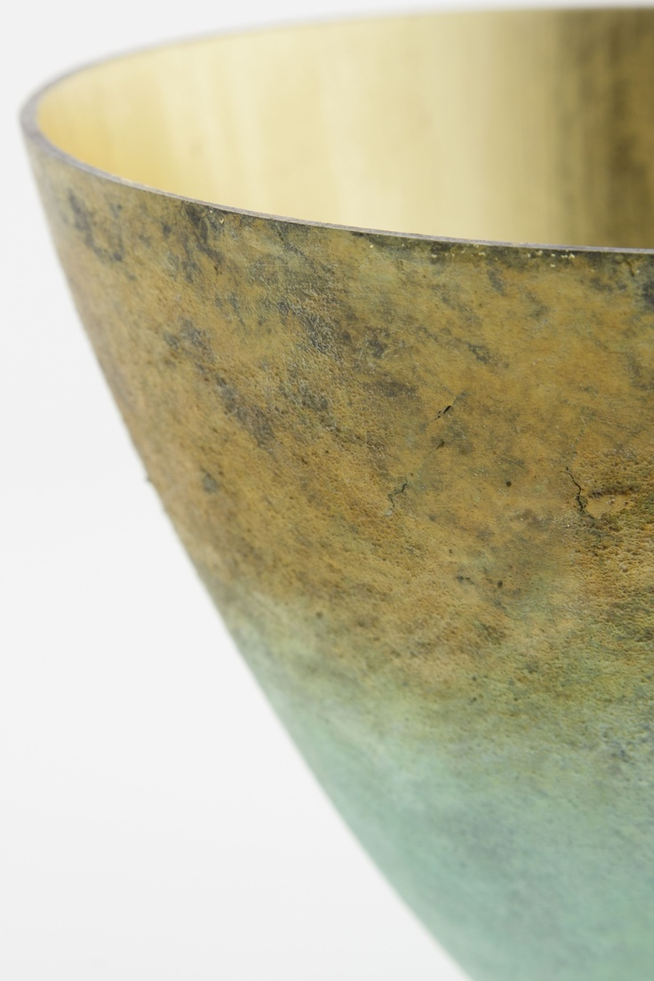 Stunning smooth, medium bowl with a brown to green patina and gold leafed interior by Bronze Age Foundry. Bronze Age functional art comes with different textures and patinas - all stunning decor pieces on amagugu.com
