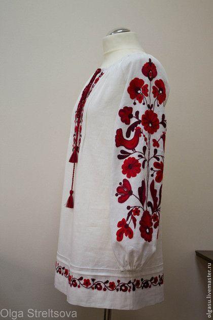 """Блузки ручной работы. Вышитая блуза туника вышиванка """"Красные птички"""" красная ручная вышивка. Ручная вышивка от Ольги Стрельцовой. Ярмарка Мастеров."""