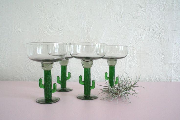 Set of 4 Vintage Margarita Glasses / Cactus Margarita Glasses / Boho Bar Cart Decor / Southwestern Glasses / Vintage Cocktail Glassware by prettyoddgoods on Etsy
