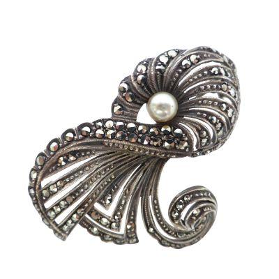 Tulip Flower Sterling Silver Marcasite Brooch - Vintage Style Brooch Pin/Clip - Brooch Jewellery d4vAew