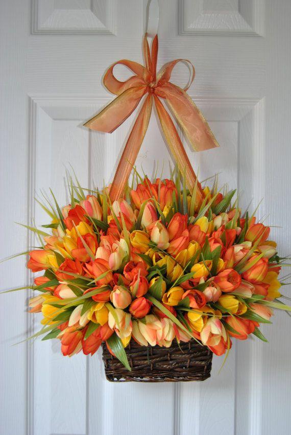Spring Tulip Door Basket   Love This Idea!
