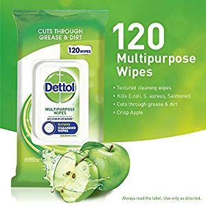 Dettol Multi-Purpose Cleanser Wipes Crisp Apple Count of 120 #Kitchen-Dining #Ki…