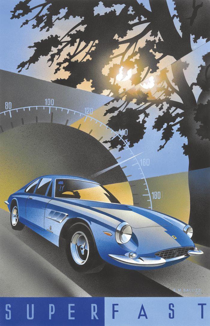 PEL207: '1966 Ferrari 500 Superfast' by Emilio Saluzzi - Vintage car posters - Art Deco - Pullman Editions - Ferrari