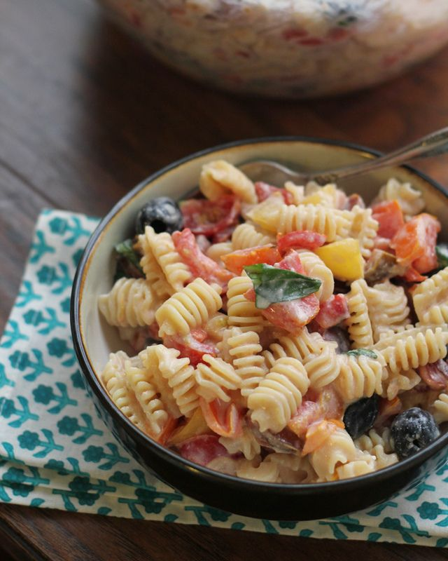 Heirloom Tomato Pasta Salad with Ricotta Salata Cream Sauce {#RecipeRedux}