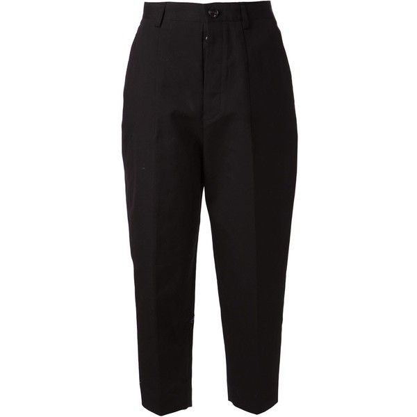 Arts & Science cropped trousers ($855) ❤ liked on Polyvore featuring pants, capris, bottoms, craig, trousers, black, cotton crop pants, cotton pants, cropped capri pants and cropped trousers