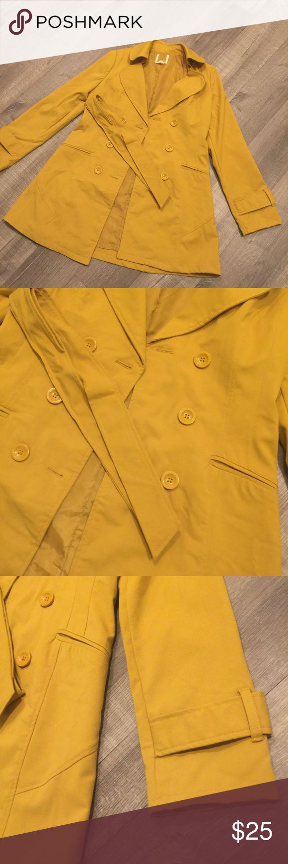 Mustard Yellow Trench Coat Mustard yellow trench coat! Has a belt, and perfect pop of color for winter/fall. Jackets & Coats Trench Coats