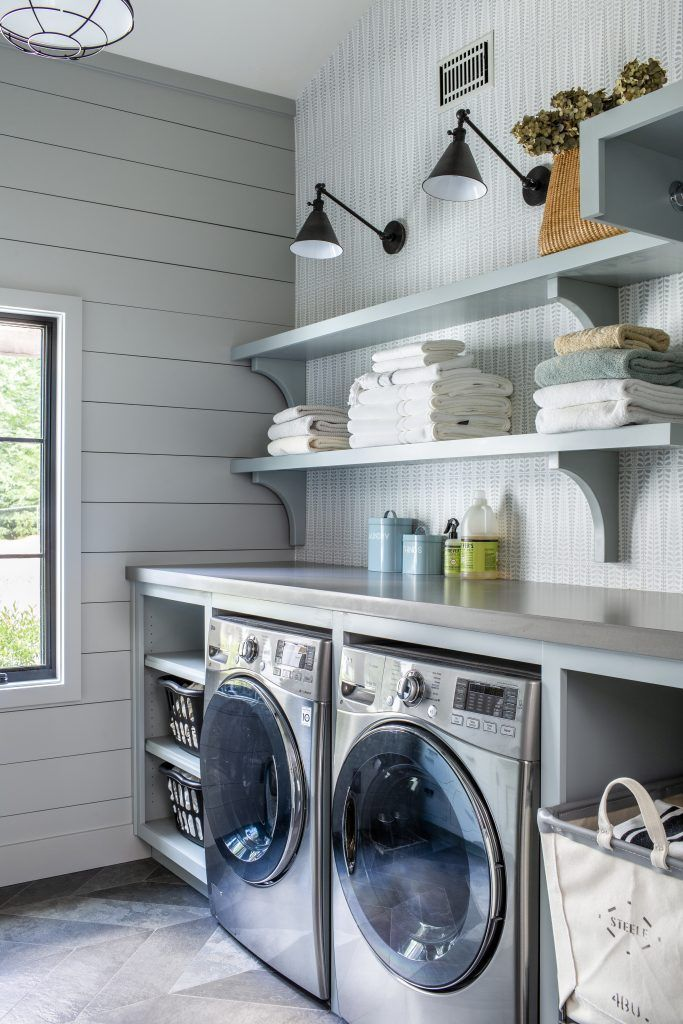 Countertop Over The Washer And Dryer Open Shelving In The