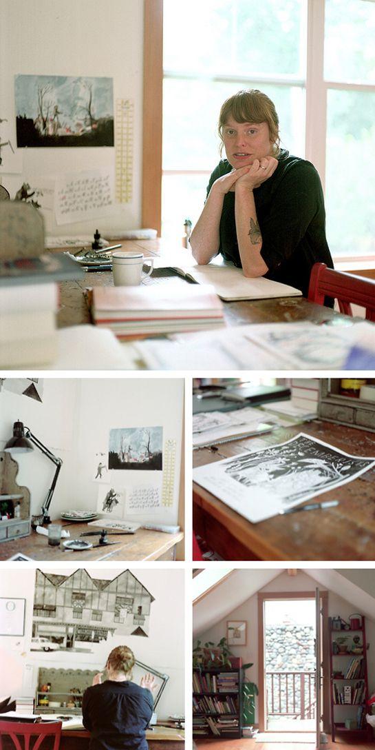 carson ellis, studio, illustrator, illustration, home, interior, workspace, photography, home, storage
