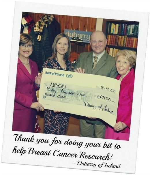 December 2012: #DubarryofIreland proudly present the #NCBRI with a cheque for €60,900 towards breast cancer research. Thank you all for your wonderful support with fundraising for this very worthy cause.