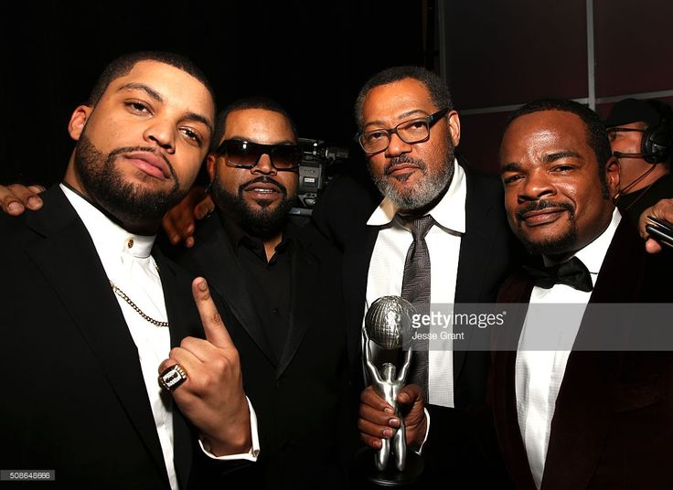 Actors O'Shea Jackson Jr., Ice Cube, Laurence Fishburne, and director F. Gary Gray attend the 47th NAACP Image Awards presented by TV One at Pasadena Civic Auditorium on February 5, 2016 in Pasadena, California.