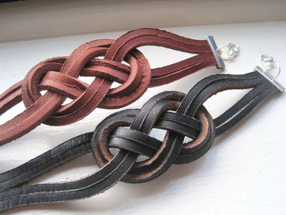 Nautical Black Leather Sailor Knot Bracelet