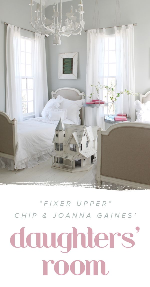 "HGTV's ""Fixer Upper"" Chip and @joannagaines_' daughters' room is so whimsical and cute. It's the perfect kid's bedroom inspiration, especially if you are trying to design a girl's room."
