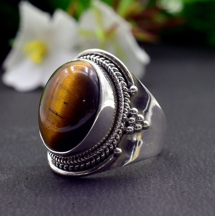 925 Solid Sterling Silver Tiger's Eye Gemstone Handmade Mens Ring Size 7 US R836 #Handmade #Cluster #Party