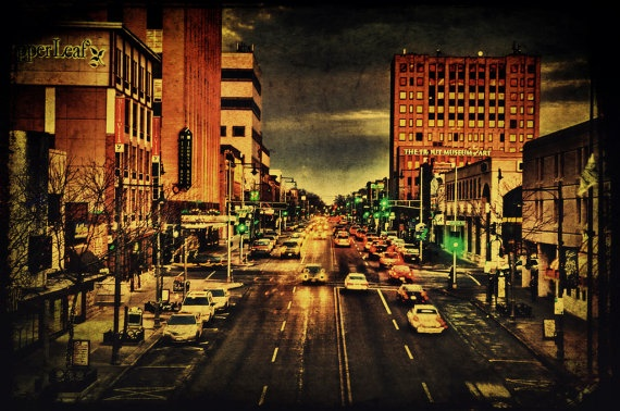 Downtown College Avenue Fine Art Photograph Appleton Wisconsin Home Decor Appleton