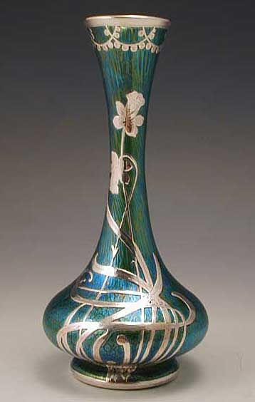 Iridescent green glass vase with silver overlay Art Nouveau floral decoration / Loetz, c. 1905