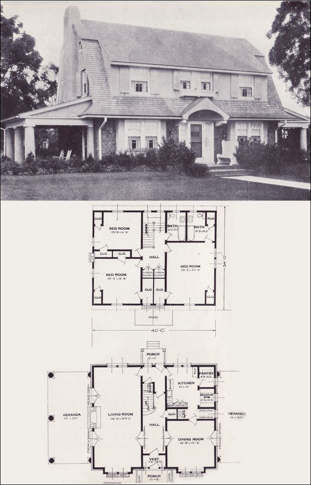 1923 Standard Homes- The Jefferson. 2 full bathrooms, 3 bedrooms and a massive living room.