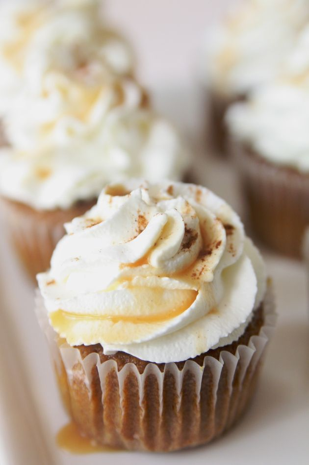 Pumpkin Spice Latte Cupcakes with Whipped Cream Frosting
