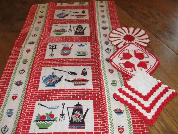 Pineapple House Antiques ~ Vintage Kitchen Theme Kitchen Towel With Vintage  Red And White Crocheted Pot