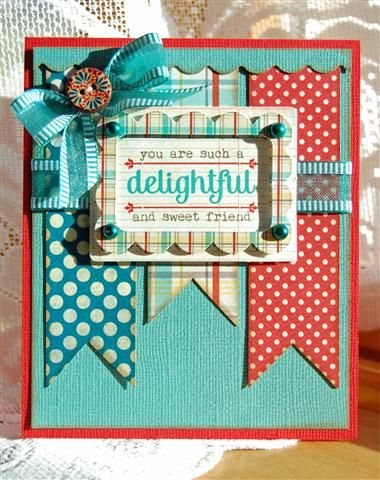 Cute card with patterned papper: Colors Combos, Cards Ideas, Scrapbook Com, Friends Cards, Cards Scrapbook, Birthday Cards, Colors Combinations, Delight Friends, Cards Inspiration