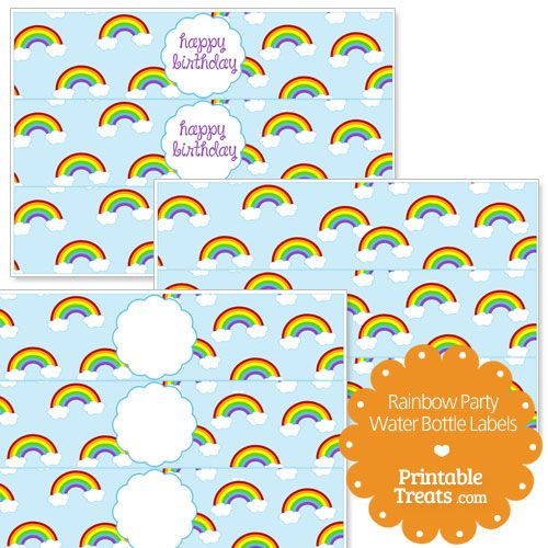 Printable Rainbow Water Bottle Labels from PrintableTreats.com