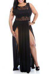 Sexy Scoop Neck Sleeveless Hollow Out High Slit Plus Size Dress For Women (BLACK,3XL) | Sammydress.com Mobile