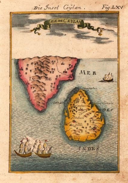 Sri Lanka, Isle de Ceylan, Ceylon Frankfurt, 1719  Copper engraving, hand colored in wash and outline. Decorative birds eye view on the island of Sri Lanka with the neighboring southern tip of India, ornated in the foreground with two sailing ships. With several place names, rivers and mountains.