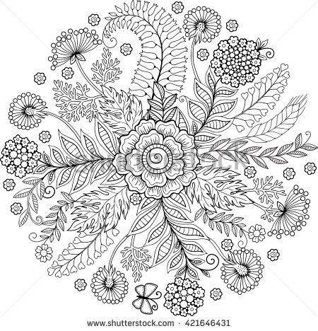 Coloring Book Anti Stress For Adults Decorative Round Floral Background Raster Copy