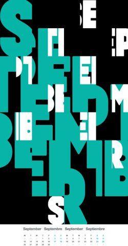 -: Artworks Inspiration, September Calendar, Typography Design, Art Design, Graphics Design, Calendar Design, Beautiful Typography, 2011 Calendar, Inspiration Design