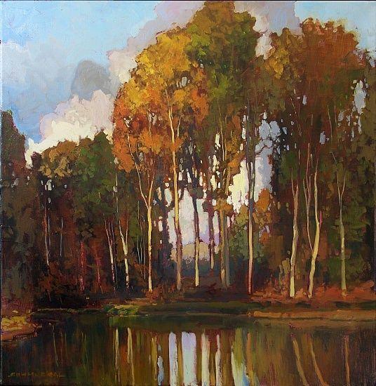 Jan Schmuckal Tonalist Impressionist Artist - Original Oil - Trees - Lakeshore - Landscape