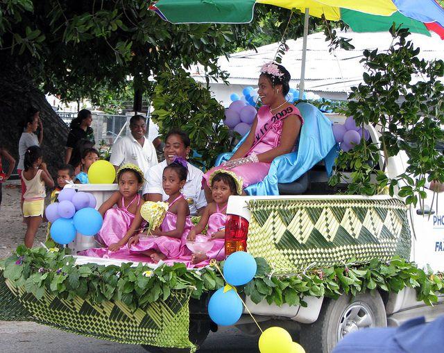 https://flic.kr/p/7SweYs   Kiribati 09565   Miss TSKL contestant on float, Independence celebrations, Bairiki, South Tarawa, Kiribati