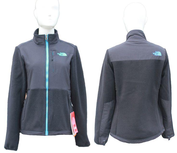 The North Face Jackets Womens Denali Blue and Black [TNF-Denali Sale 4154]