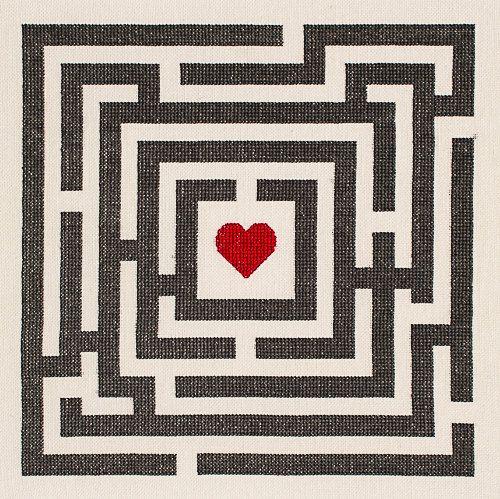 Love Maze modern cross stitch pattern pdf by HipstitchCrossStitch