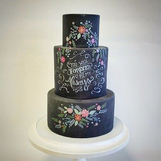 fluffy thoughts cakes, fluffy thoughts, chalkboard wedding cake, black wedding cake, hand painted wedding cake, anna rifle cake, wedding dessert, unique wedding cake, unique dessert table, chalk wedding inspiration, chalkboard wedding, scripted wedding cake