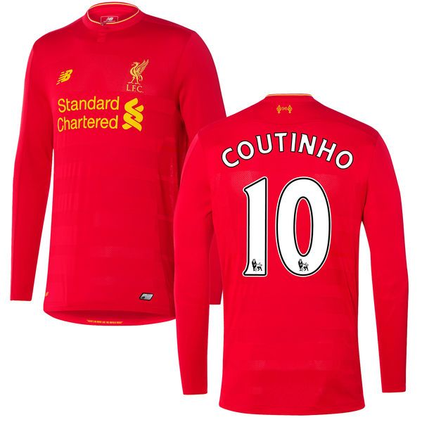 Philippe Coutinho Liverpool FC New Balance 2016 Replica Home Long Sleeve Jersey - Red - $78.74