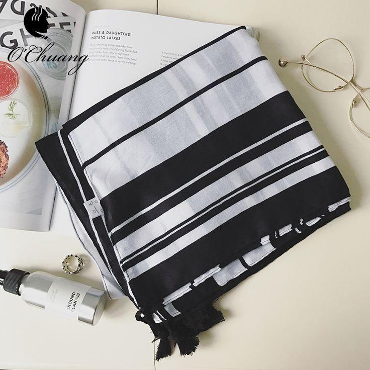 2017 Hot Sale fashion brand cotton black and white scarf with tassel black stripe print Cotton sca bufandas cachecol sjaal NZ153