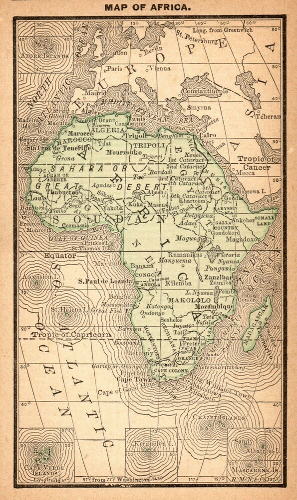 1888 Antique Africa Map Rare Miniature Vintage Map Of Africa 7926 Ebay In 2020 Africa Map Vintage Map Map