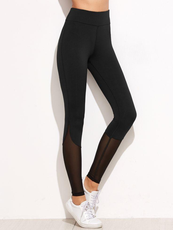 Shop Black Contrast Mesh Leggings online. SheIn offers Black Contrast Mesh Leggings & more to fit your fashionable needs.