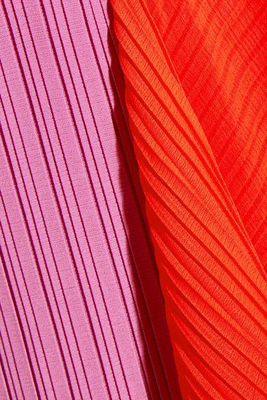 Solace London - Alette Strapless Color-block Plissé-chiffon Gown - Lilac