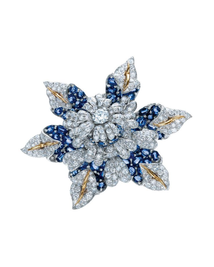 Jean Schlumberger for Tiffany & Co. Fleur de Mer clip with diamonds, sapphires, platinum and gold, from the estate of Elizabeth Taylor.