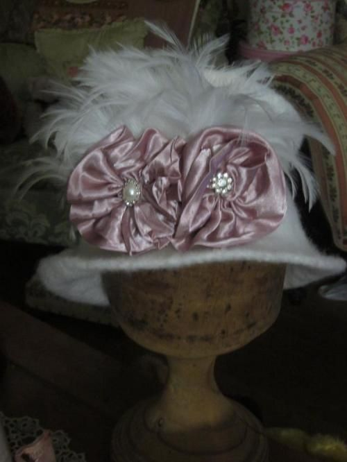 1920's Style White Wide Brim Vintage Pure Wool Felted Hat