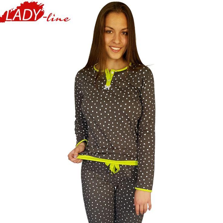Poze Pijamale Dama Maneca Lunga si Pantalon Lung, Material Bumbac 100%, Model 'I'm In Love', Brand Senso, Culoare Gri, Pijamale Import Italia