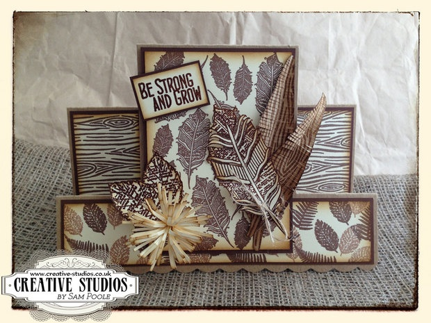 'Feathers' and 'Tree Bark' A6 background stamps designed by Sam Poole