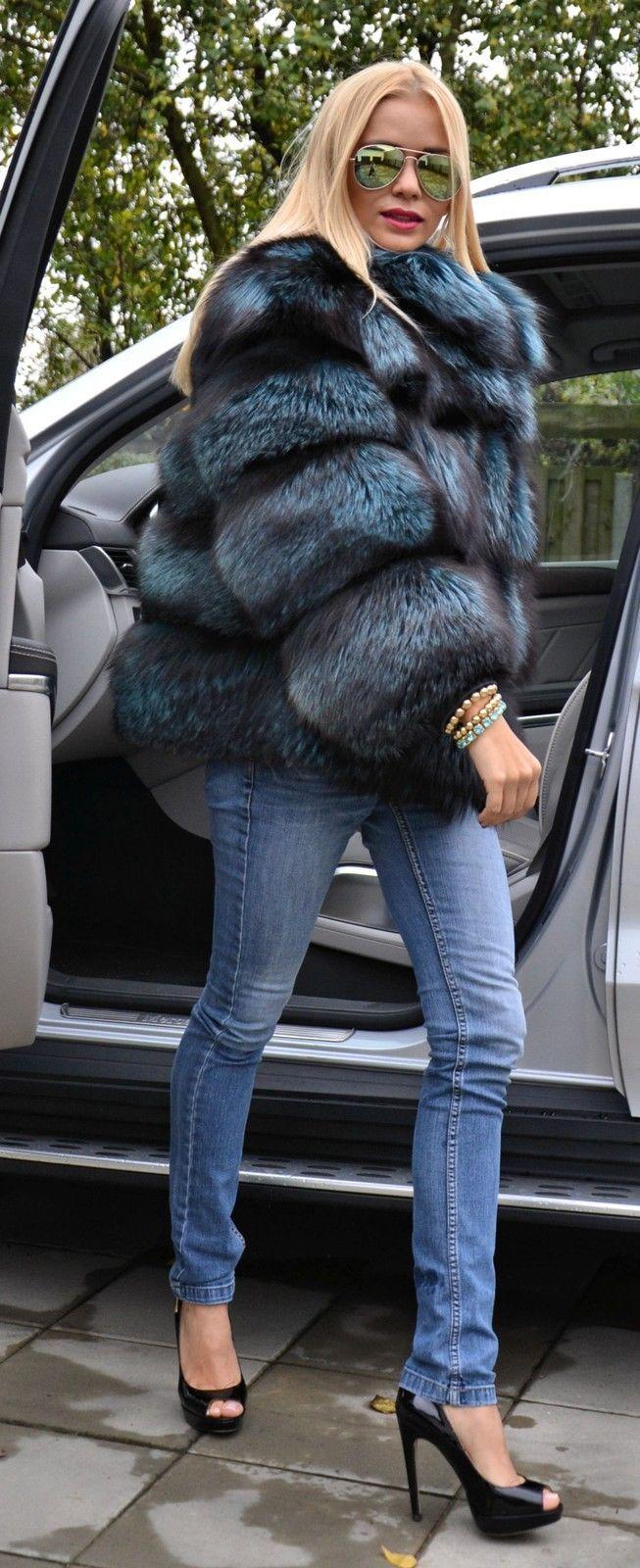 Ocean Blue Royal Saga FOX Silver FUR Coat Jacket Like Sable Mink Chinchilla Lynx | eBay